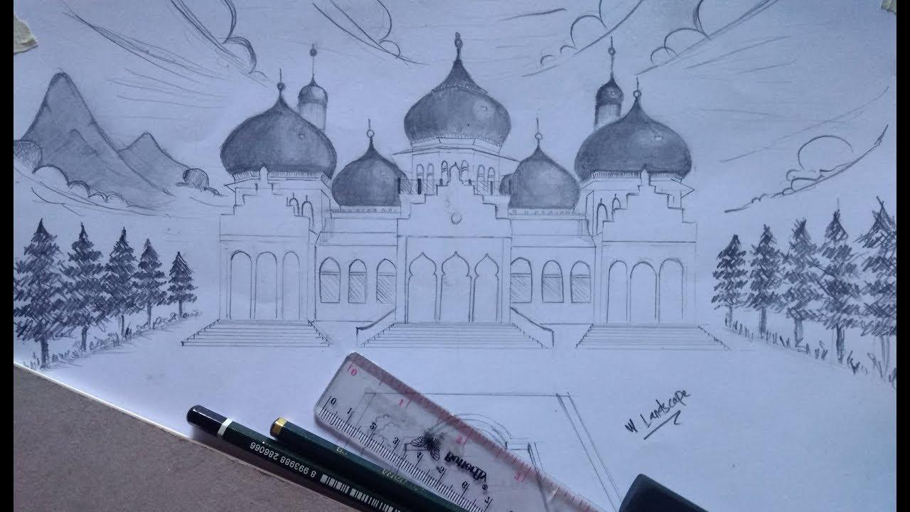 Gambar Masjid Raya Baiturrahman Aceh Menggunakan Pensil Part 1
