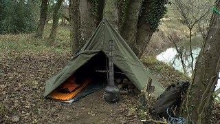 Polish army poncho shelter wild camp in the woods
