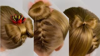 3 in 1: UPSIDE DOWN French Braid with Hair Bow, Pony Tail and Bun. Quick and Easy Hairstyle #31
