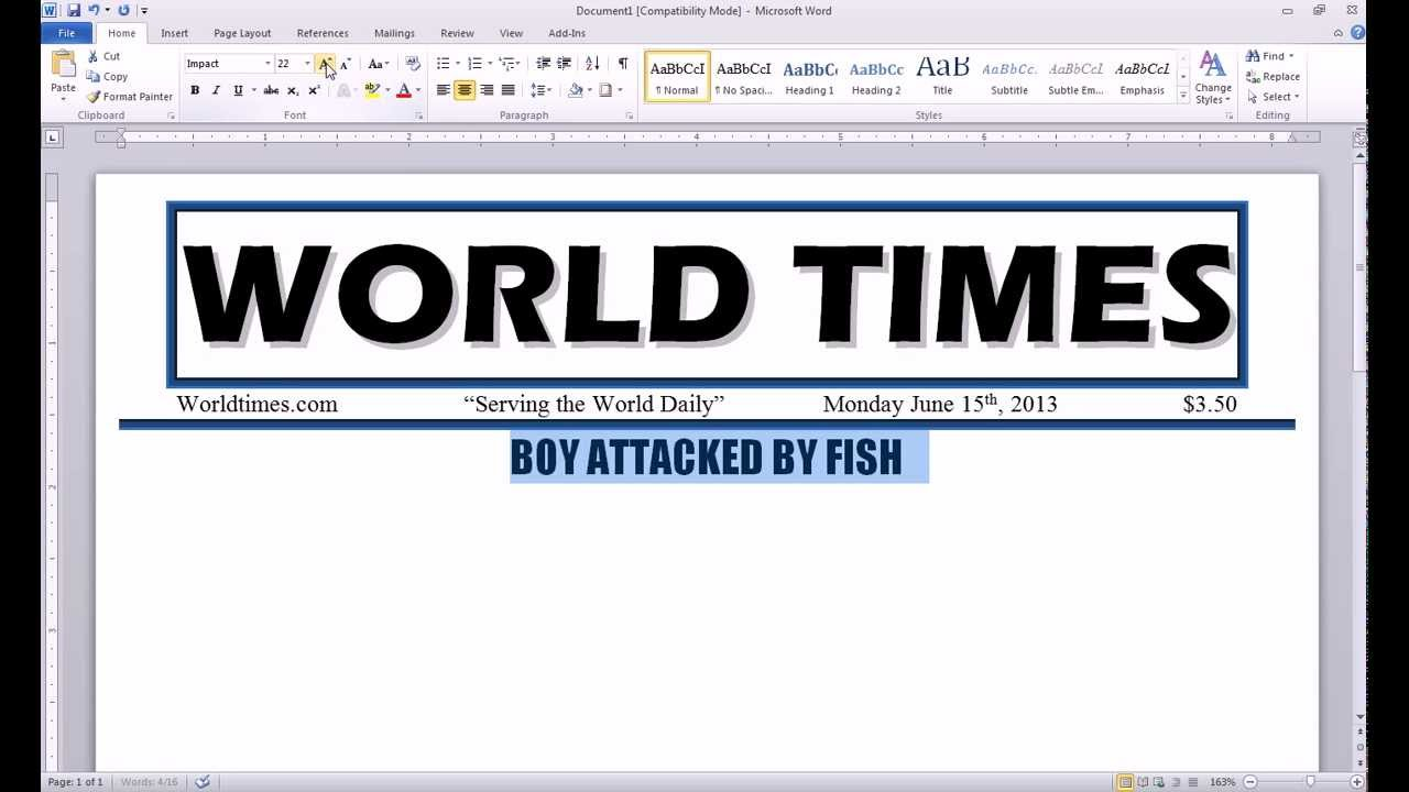 word 2010 newspaper project headline youtube