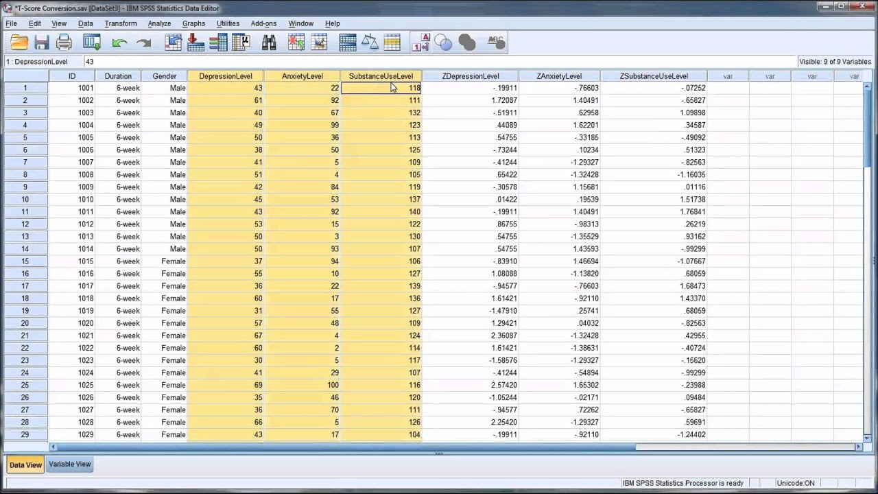 Converting Variables Into T Scores In Spss
