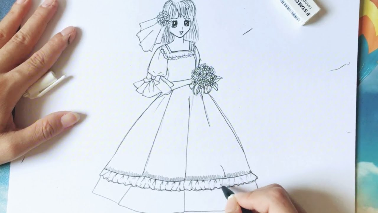 How to Draw Anime girl / Vẽ cô dâu anime