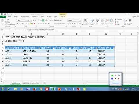 Cara Membuat Tabel Stok Barang Dengan Excel Youtube