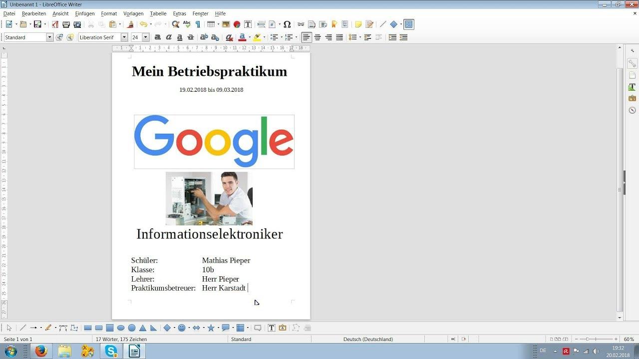 Deckblatt Für Praktikumsmappe Mit Libre Office Erstellen Youtube