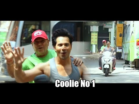Varun Dhawan with Dad David Dhawan Scooty Ride on the Set of Coolie No 1 Mp3