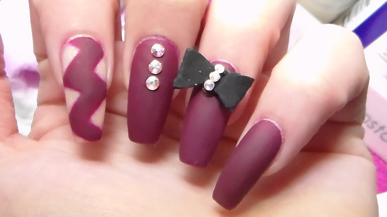 Matte Acrylic Nails Change Nail Shape Re Design Youtube