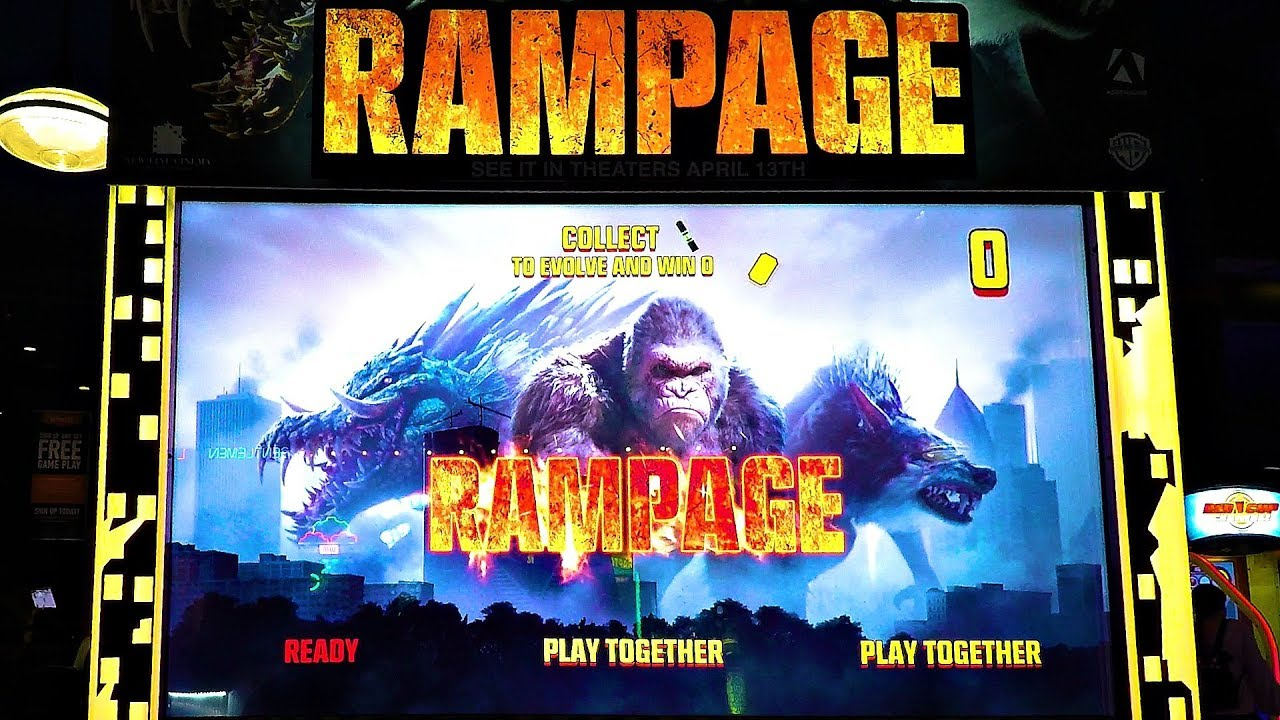 Rampage Arcade Game Play 2018 The Rock Movie Gaming Release
