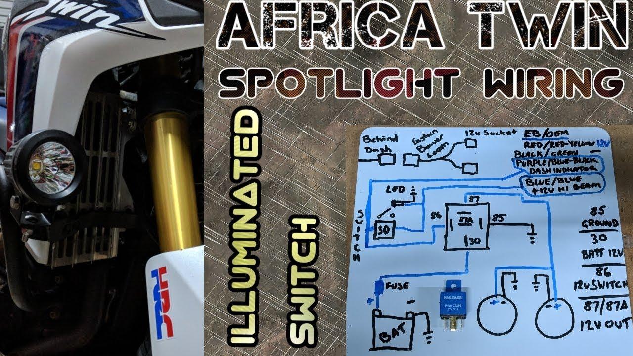 medium resolution of africa twin spotlight wiring lighting up the oem switch