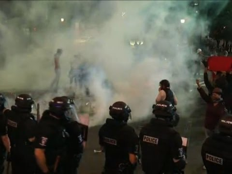 Raw: Police Fire Tear Gas at Charlotte Protests