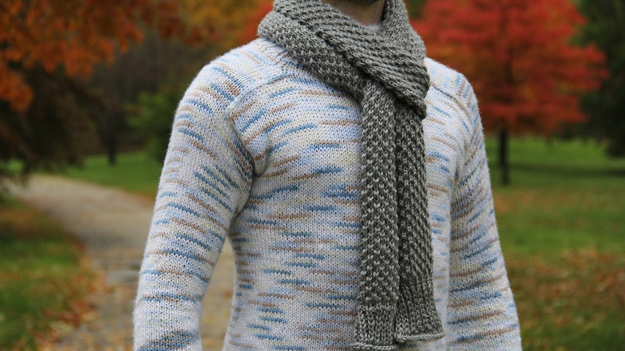 Mens Knit Scarf Pattern Easy : How to knit mens scarf - video tutorial with detailed instructions. - Yo...