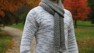 How to knit mens scarf - video tutorial with detailed instructions.