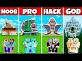 Minecraft: FAMILY MODERN FUTURE HOUSE BUILD CHALLENGE - NOOB vs PRO vs HACKER vs GOD in Minecraft