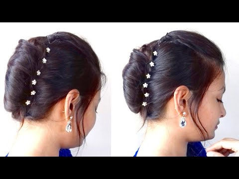 French Bun French Roll French Twist In Hindi Partywear Bun Hairstyle Alwaysprettyuseful Youtube