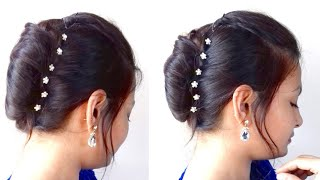 French Bun/French Roll/French Twist In Hindi|Ganesh Chaturthi Special Hairstyle| AlwaysPrettyUseful