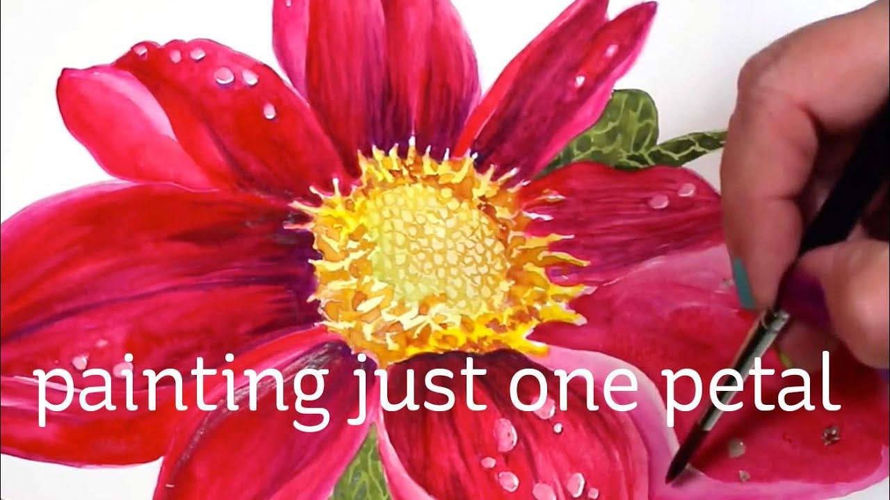 Watercolor Flower Series #6: Just one petal - YouTube