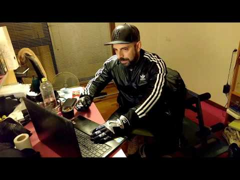 Live stream in Adidas Chile tracksuit and Nike Shox