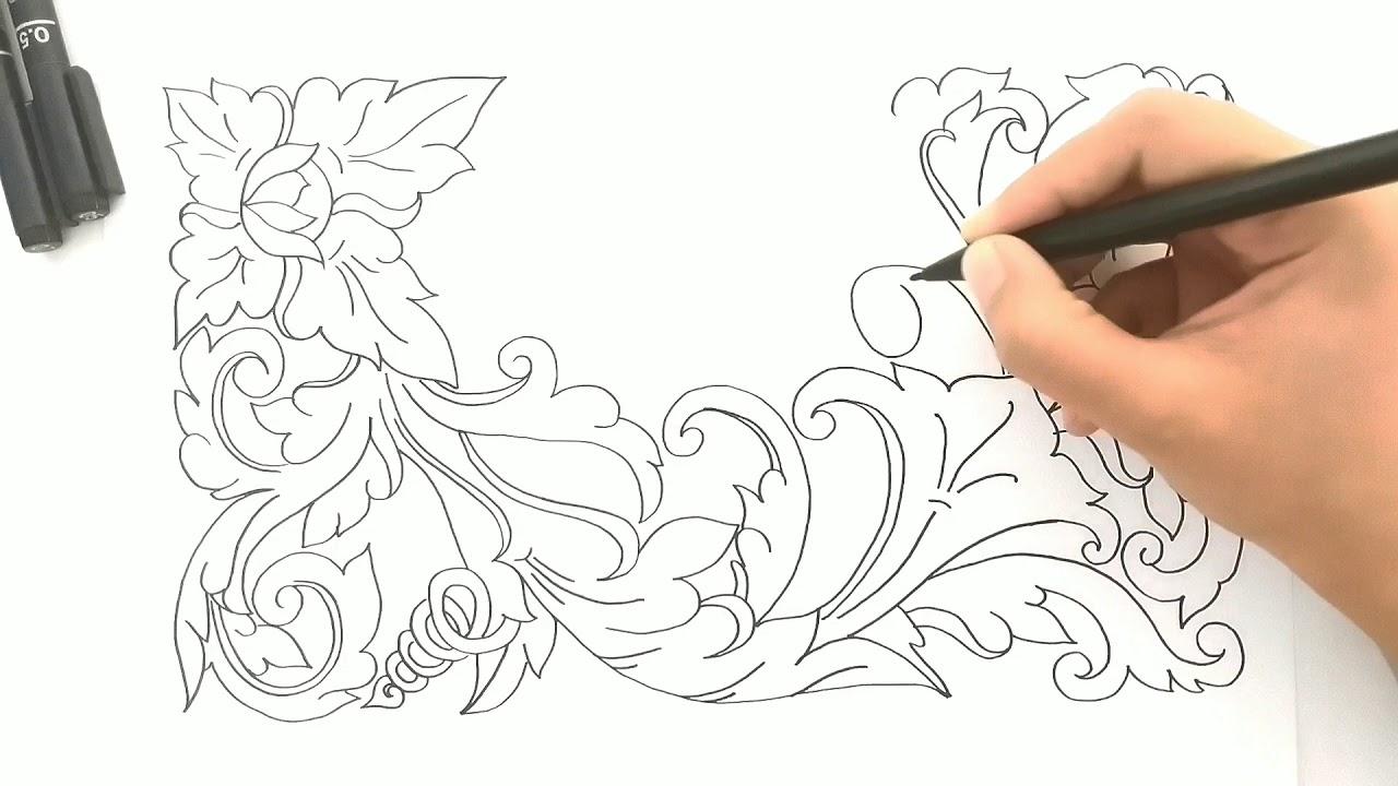 Motif Batik Menggambar Ragam Hias Flora - Contoh Motif Batik