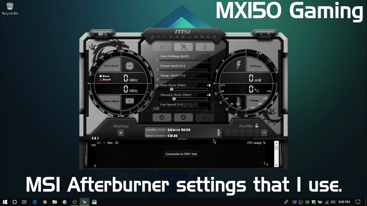 MSI Afterburner Settings | MX150 Gaming