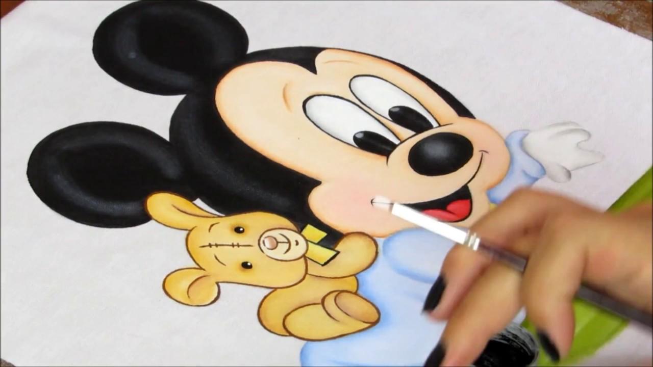Desenhos Da Minnie Para Pintar Em Tecido: AULA COMO PINTAR O MICKEY