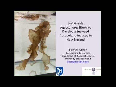 Sustainable aquaculture: Efforts to Develop a Seaweed Aquaculture Industry in New England