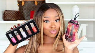 Lets Try On Fenty Beauty Glossy Posse Mini Gloss Bomb Collection