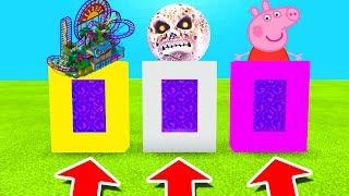 Minecraft PE : DO NOT CHOOSE THE WRONG PORTAL! (Theme Park, Lunar Moon & Peppa Pig)