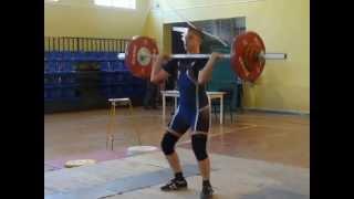 Тяжёлая атлетика. Рахматуллин Альберт, 15 лет, вк +69 Толчок 90 кг