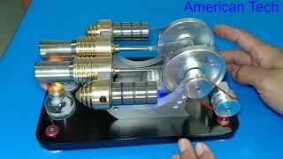 Stirling Engine generator Kit 2-Cylinder Parallel Bootable Micro External Combustion Engine Model