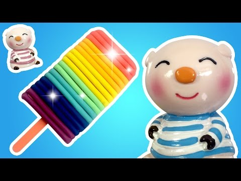 Play Doh Rainbow Ice Cream! Blue Pig And Pink Pig Watch Make Ice Cream