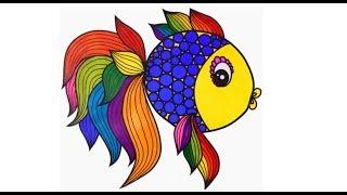 طريقة رسم سمكة ملونة جميل بسهولة تعليم الرسم للاطفال Youtube
