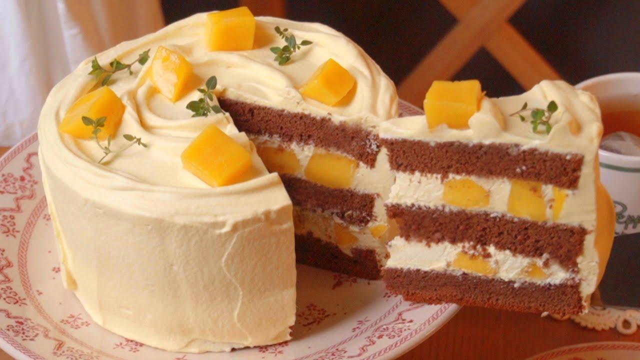 망고 초콜릿 케이크 만들기 망고 생크림케이크 레시피 Mango Chocolate Cake Recipe 망고케이크 망고생크림 망고퓨레 케이크 만드는법