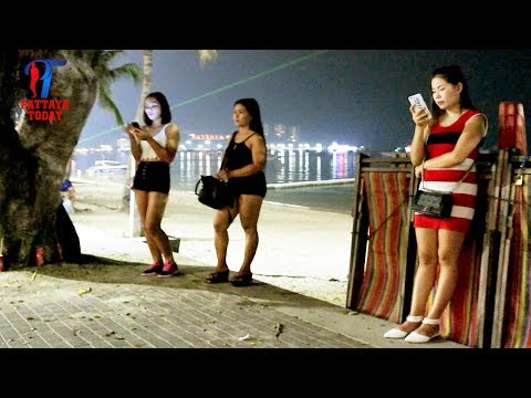 Night walk along the Beach road, #Pattaya, March 2018, Vlog 219