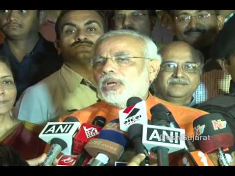 Narendra Modi speaks to media at Gujarat BJP