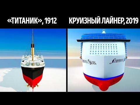 «Титаник» и современные круизные корабли в сравнении