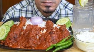 ASMR : Eating 2x Spicy Chicken Gravy, Long Rice, Green Chilli, Onion, Yogurt - Mukbang Eating Show
