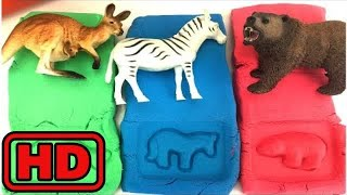Kid -Kids -Making Animal Shapes With Molds In Colorful Kinetic sand/Pretend Play Microwave Toy Anim