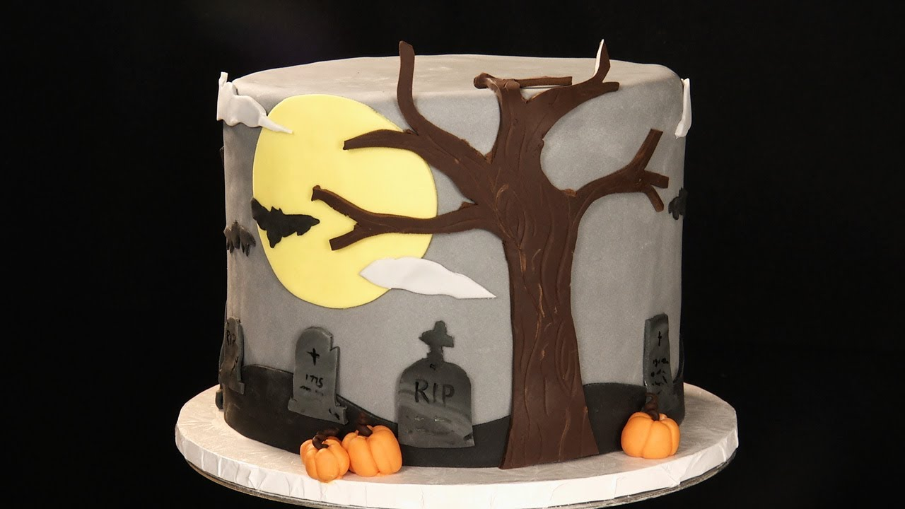 decorating a halloween cake using fondant youtube - Halloween Decorated Cakes