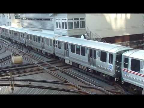 "CTA Transit: 1976-78 Boeing-Vertol 2400 Series ""L"" Green Line Trains at the ""T"" Junction (Loop)"