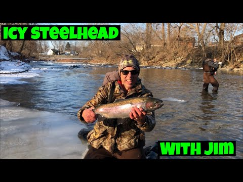 Lake Erie Steelhead In Icy Conditions