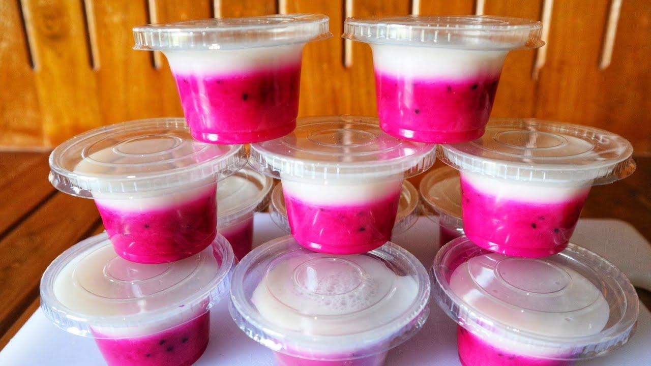 Resep Pudding Buah Naga Cup Untuk Jualan Atau Acara Arisan Youtube