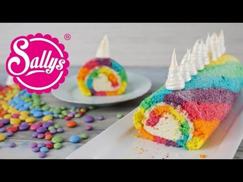 Einhorn Biskuitrolle / Regenbogenrolle / Rainbow Unicorn Swiss Roll / Sallys Welt