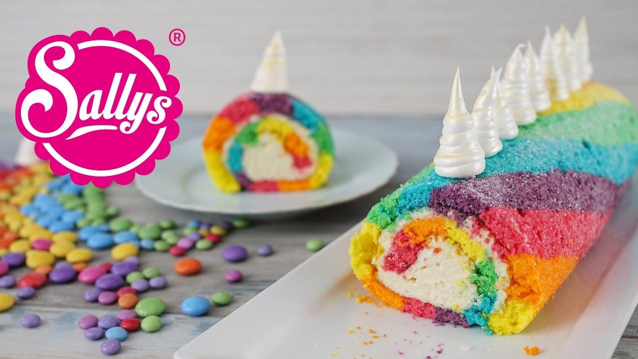 einhorn biskuitrolle regenbogenrolle rainbow unicorn swiss roll youtube. Black Bedroom Furniture Sets. Home Design Ideas