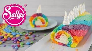 Einhorn Biskuitrolle / Regenbogenrolle / Rainbow Unicorn Swiss Roll