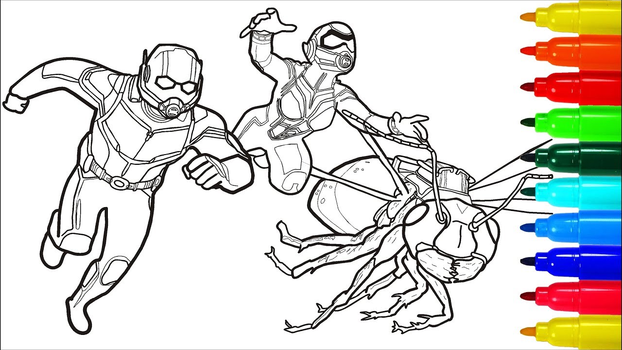 Ant Man Wasp Superheroes Coloring Pages Colouring Pages For Kids