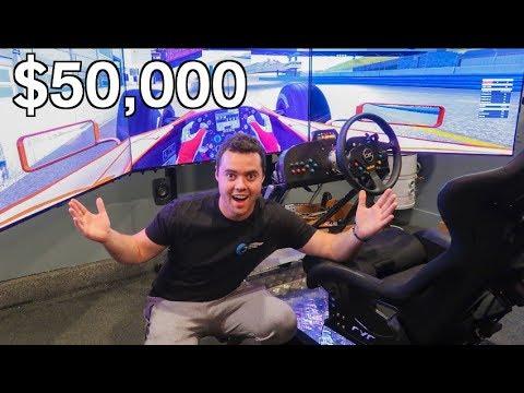 MY FRIEND'S INSANE $50,000 DRIVING SIMULATOR!!!