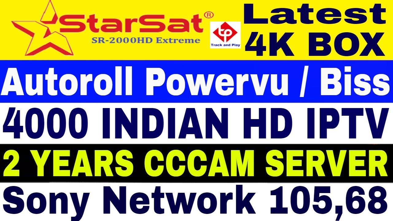 Starsat 2000 HD Extreme , Latest 4K Set top box,Autoroll powervu,Autoroll  Biss,2 Years CCCAM server