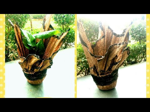 DIY out of old clothes/cement Flowerpot