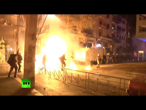 Night of flying petrol bombs: Athens gripped by riots commemorating teen killed by police