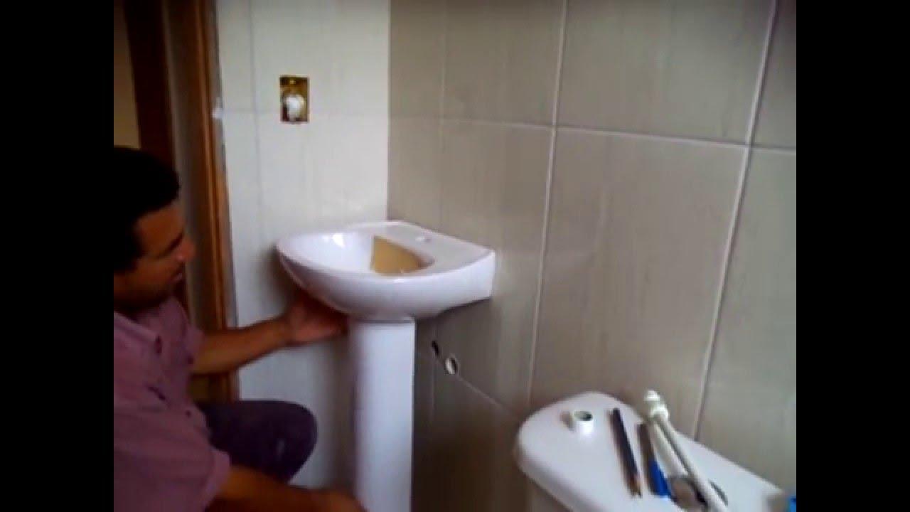 como colocar lavatório de banheiro (pia de banheiro)  YouTube -> Como Colocar Pia De Banheiro Na Parede