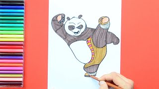 How to draw and color Po from Kung Fu Panda